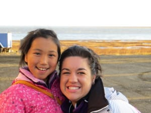 Christena with Alaskan girl through Christian Veterinary Mission