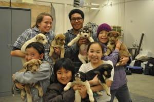 alaskan children with puppies